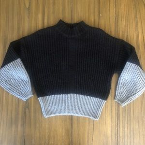 Elodie black and gray chunky knit sweater